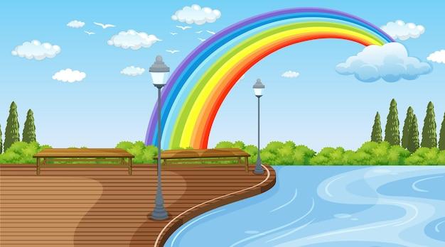 空に虹のある公園の風景シーン