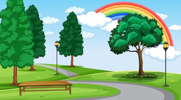 Park landscape scene with rainbow in the sky