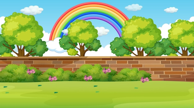 Scena del paesaggio del parco con l'arcobaleno nel cielo