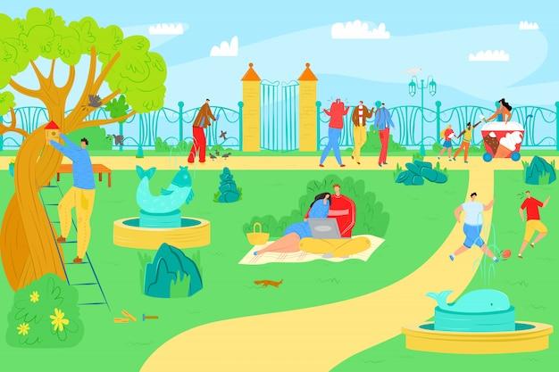 만화 야외 여름, 그림에서 공원 레저. 도시 자연, 라이프 스타일 활동에서 남자 여자 사람들이 문자. 잔디 풍경, 행복 산책 및 레크리에이션에서 스포츠.