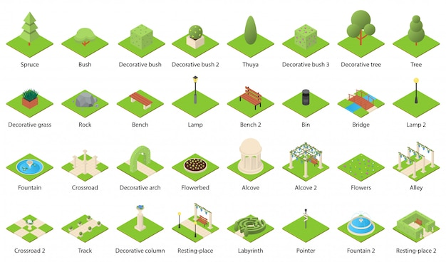 Park nature elements icons set
