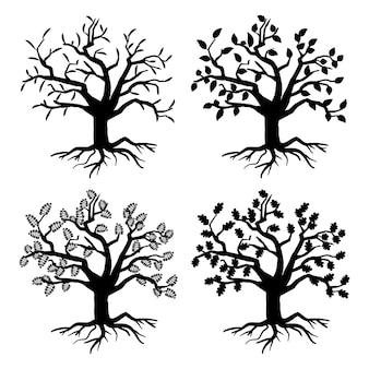 오래된 나무를 주차하십시오. 뿌리와 잎 나무 실루엣. 컬렉션 일러스트의 흑백 나무 식물