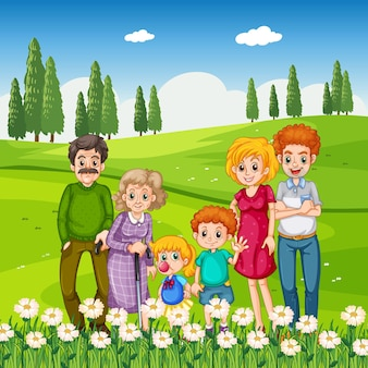Park outdoor scene with happy family