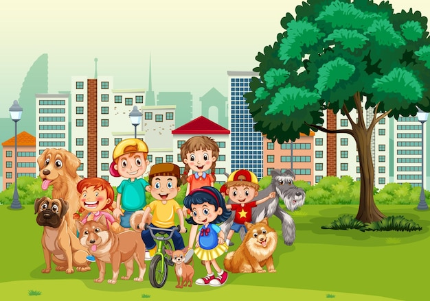 Park outdoor scene with many children and their pet