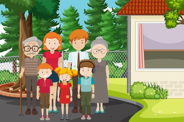 가족 구성원과 함께 공원 야외 장면