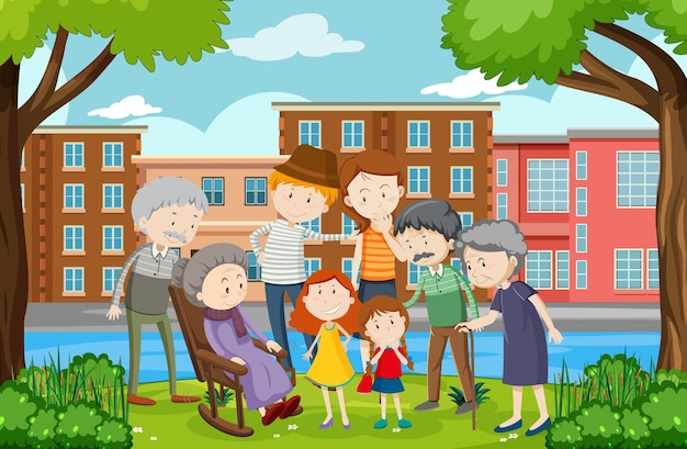 家族と一緒に公園の屋外シーン