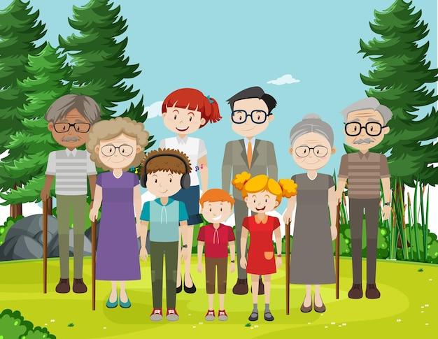 가족 구성원과 공원 야외 장면