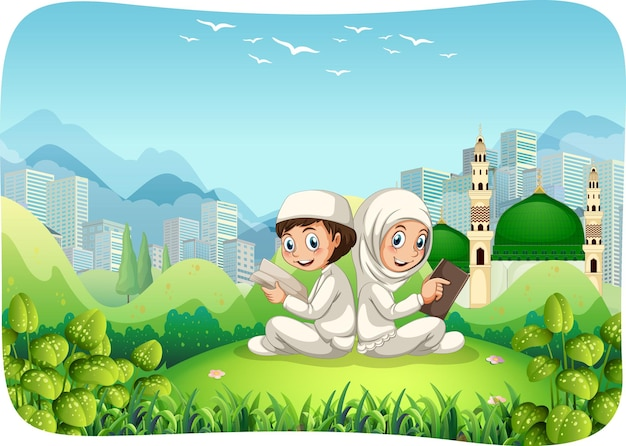 Park outdoor scene with muslim sister and brother cartoon character