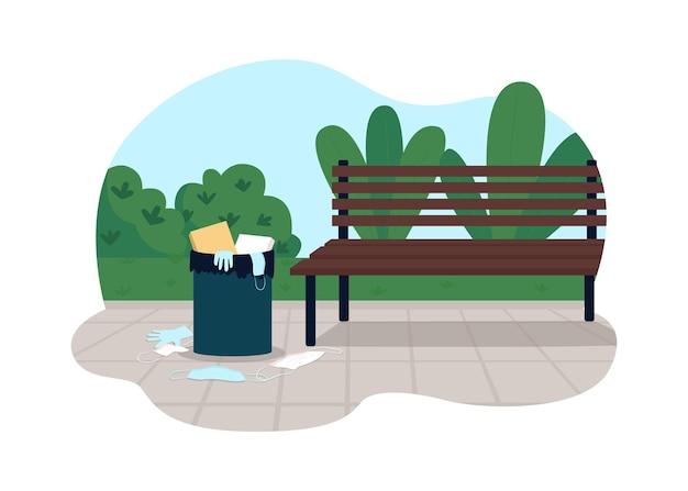 Загрязнение парка 2d. пластиковые маски мусорные. грязная окружающая среда после карантина из-за коронавируса