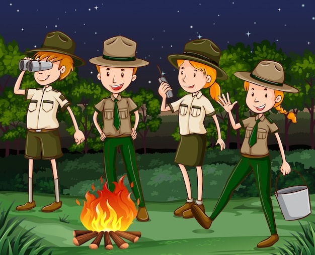 Park rangers working at night