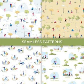 Park recreation cartoon seamless pattern set
