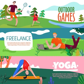 Park rest horizontal banners set with yoga symbols flat isolated