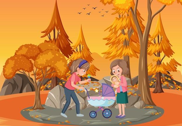 어머니와 딸과 함께 일몰 시간에 공원 현장