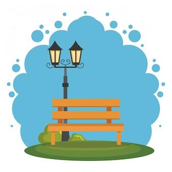 Park scene landscape icon