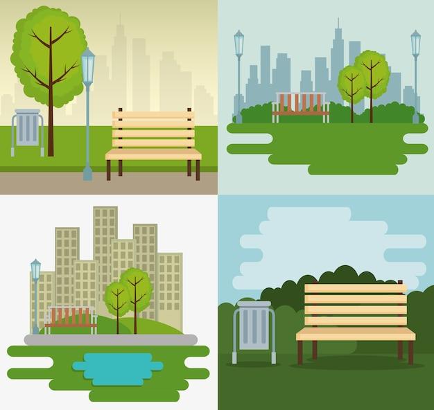 Park scene outdoor icons