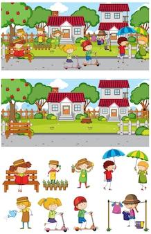 多くの子供たちの漫画のキャラクターが設定された公園のシーン
