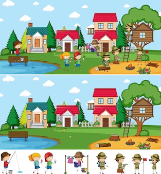 Park scene set with many kids doodle cartoon character isolated