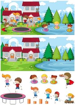 孤立した多くの子供たちの落書き漫画のキャラクターとセットの公園のシーン