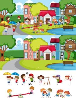 Scena del parco con molti bambini che scarabocchiano il personaggio dei cartoni animati isolato
