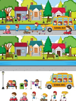 많은 아이들이 고립 된 낙서 만화 캐릭터와 함께 공원 장면 설정