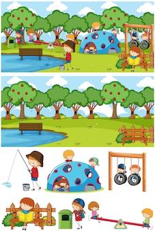 많은 아이들이 고립 된 낙서 만화 캐릭터 세트 공원 장면