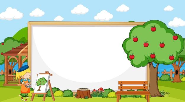 Scena del parco con striscione bianco e personaggio dei cartoni animati di scarabocchio della ragazza dell'artista