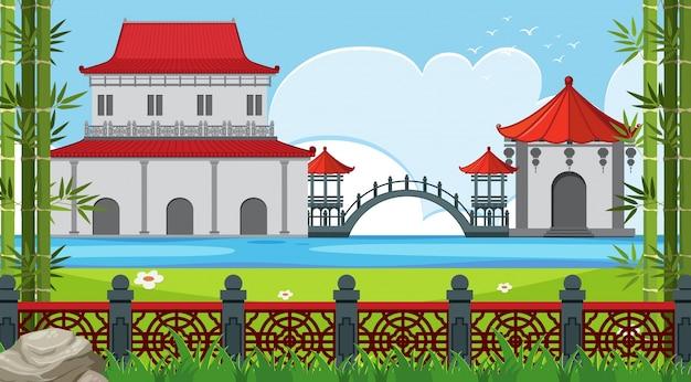 호수 중국 건물 공원 현장