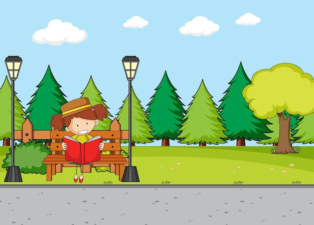 Park scene with a girl reading book sitting on bench