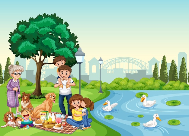 Сцена в парке со счастливой семьей, наслаждающейся пикником
