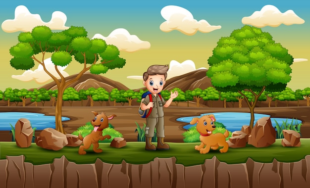 Park scene with scout boy exploring outdoors