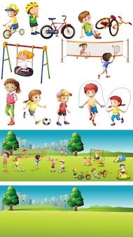 スポーツをしている子供たちと公園のシーン