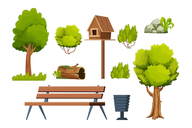 Park set of elements wooden bench trees bush stone with moss old log birdhouse bin in cartoon