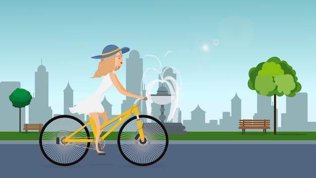 女の子、自転車に乗った女の子、女の子と一緒に公園。自転車、女性、フィットネス。