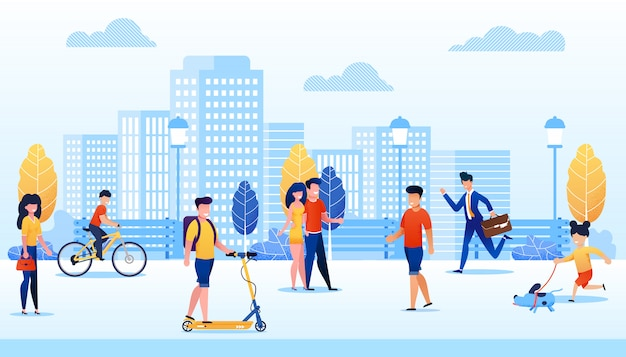 Парк с иллюстрацией вектора шаржа различных людей плоской. человек движется на скутере, мальчик езда велосипедов. девушка гуляет с собакой.