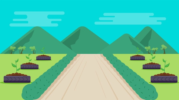 Park with mountains background vector illustration