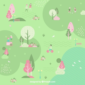 Park with people in a flat design