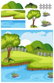 Park with pond scene