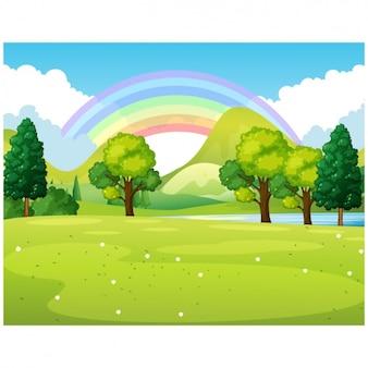 Park with rainbow
