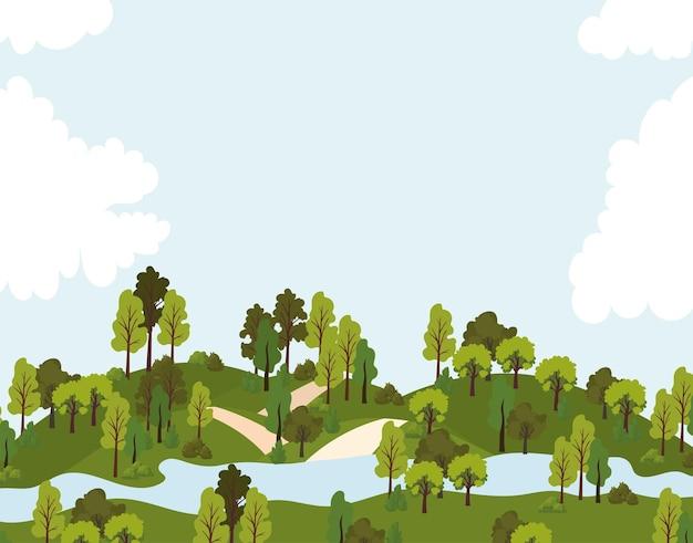 道路、木々、川のイラストが1つある公園