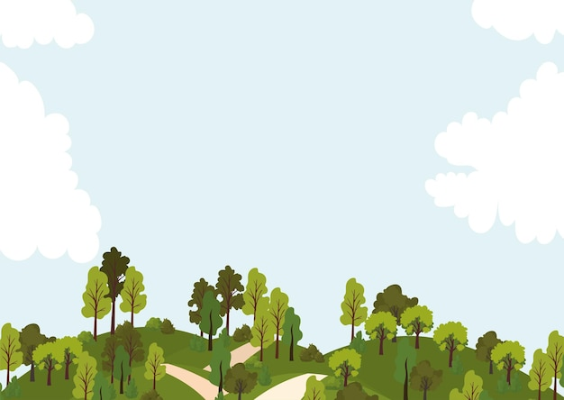 Park with roads, trees and blue sky  illustration
