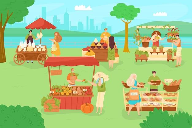 ストリートマーケットのある公園、人々のキャラクターの屋外イラスト。男性女性は、フェスティバルフェアで食品を購入します。夏はイベントの背景を販売し、人は販売の屋台に歩きます。