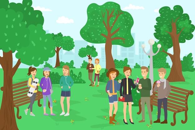 10代の若者と公園、ベクトルイラスト。平らな女の子の男のキャラクターは、都市の自然、幸せな若者のライフスタイルで屋外で休む。 10代の学生が木の近くに立ち、ベンチ、家族のカップルが一緒に歩きます。