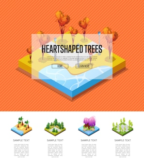 Park zone with heart shaped trees infographics