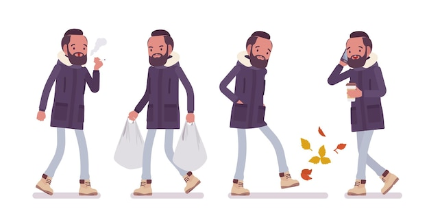 Parka man in autumn affairs