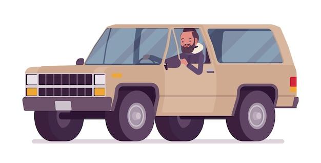 Parka man driving an offroad car