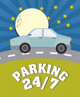 Parking anouncement in the night vector illustration