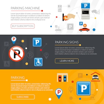 Parking banners set