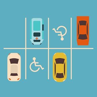 駐車場のコンセプト。車セット。ドライバーのためのパークゾーン。
