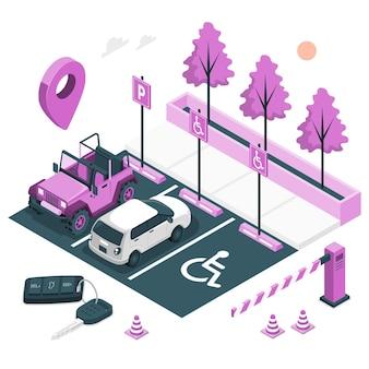 Illustrazione del concetto di parcheggio