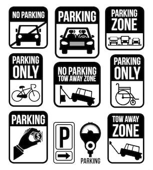 駐車場のデザイン、白背景ベクトル図